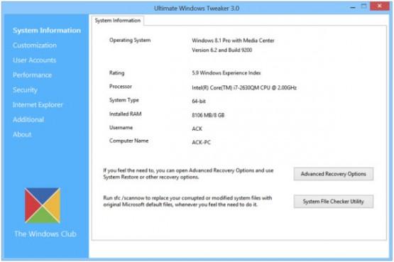 Ultimate Windows Tweaker 3 para Windows 8