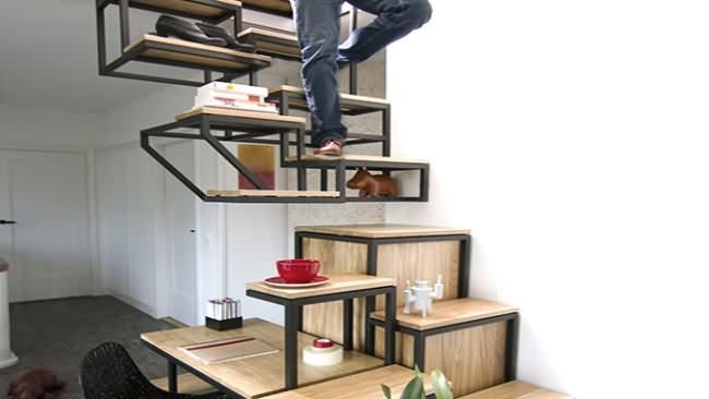 Escalera, estanterías y escritorio-1