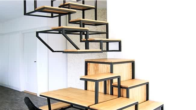 Escalera, estanterías y escritorio-2